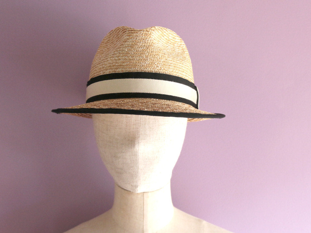 "Black Trimmed Fedora Straw Hat ""Jean"""