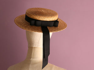 "Shallow Straw Boater Hat ""Vivien"""