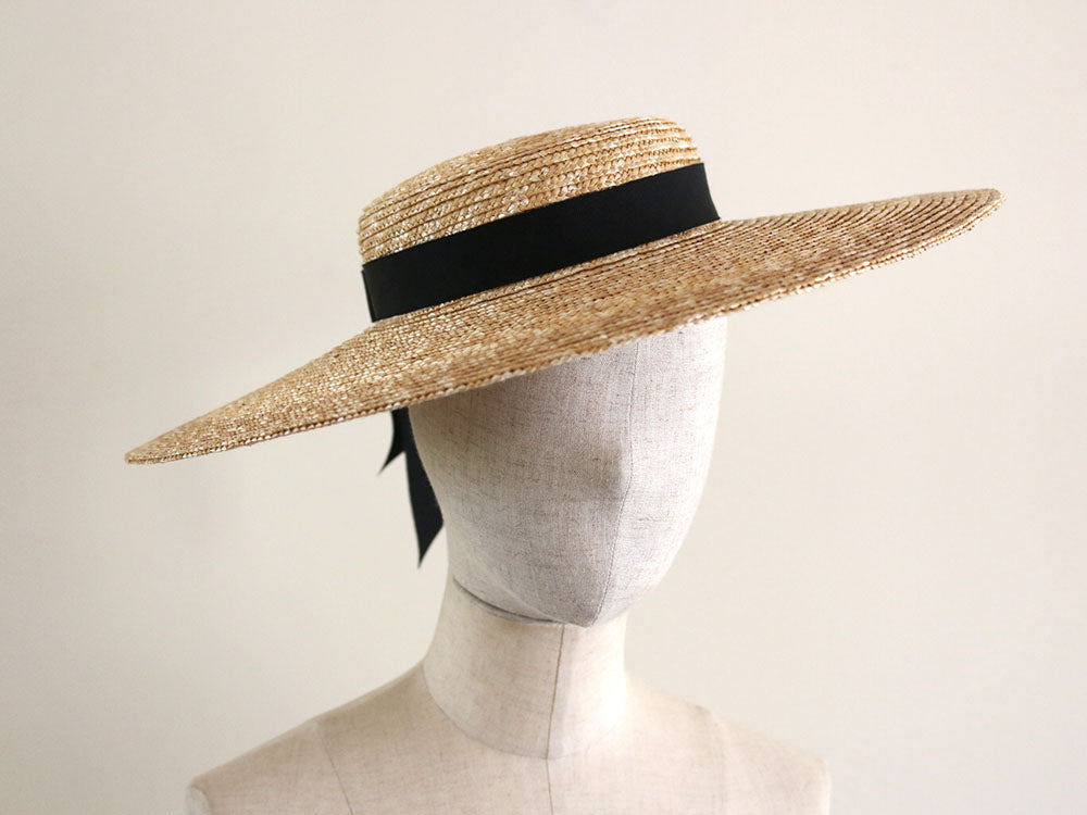 "Straw Wide-Brimmed Boater Hat ""Kate"""