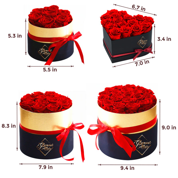 Glamour Allure Boutique 12 Preserved Roses, Gift for Girlfriend, Valentine's Day, Anniversary, Birthday, Handmade Real Flower