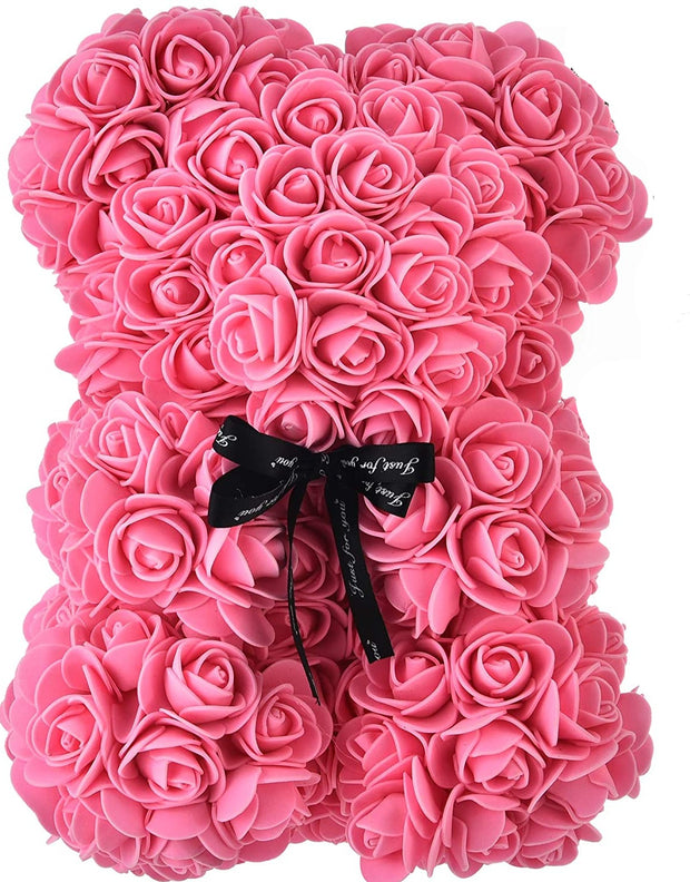 Hot Selling Small 25 cm Flower Lover Valentine Gift Teddy Foam PE Rose Bear(Pink)