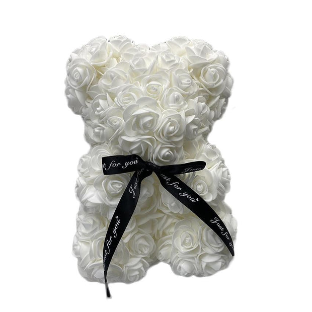 Hot Selling Small 25 cm Flower Lover Valentine Gift Teddy Foam PE Rose Bear(White)