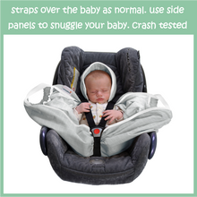 Load image into Gallery viewer, Lightweight, Organic Baby Haze. Mellow light gray, with fresh white trim pattern. Snugglebundl – move without waking | best baby travel system | elective C-section