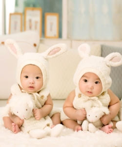 Image of twins dressed in animal outfits