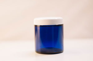 Cobalt 4 oz Jar White Lid