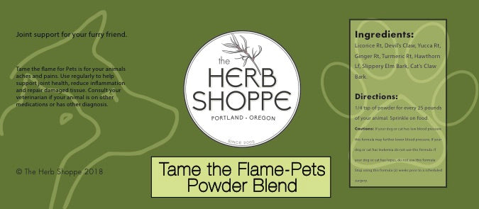 Tame the Flame for Pets-2oz packaged