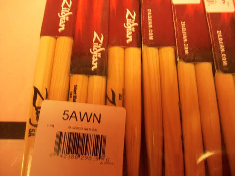 12 pairs Zildjian Wood Tip Hickory Sticks (choose model 5a,7a,2b,5b,rock,power,jazz etc)
