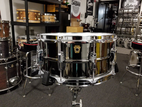 "USED Ludwig Black Beauty Snare Drum - 6.5"" x 14"" LB417 Made in USA"