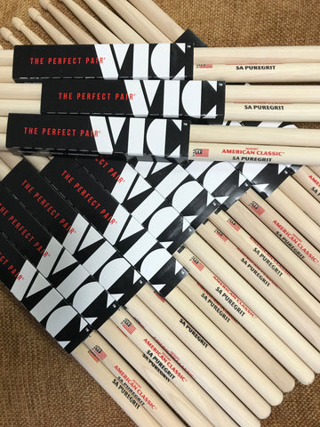 Vic Firth drum sticks - 5A Puregrit - 12 pairs for 109.99 (save $86) plus a FREE pack of Moon Gels!
