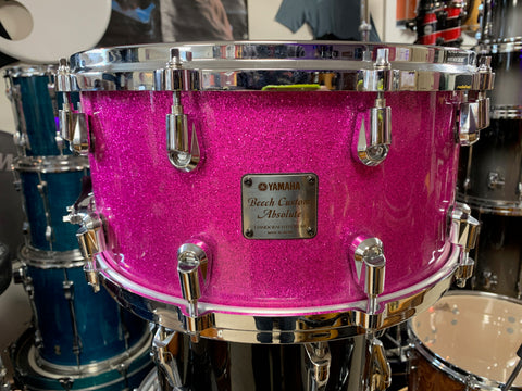 Yamaha Beech Custom Absolute Snare Drum - 14x6.5 - Pink Sparkle - (RARE! Used)