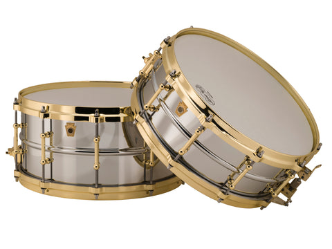 "Ludwig Chrome-Over-Brass LB400BBTWM - 5X14"" Chrome-plated Brass Shell Supraphonic Snare Drum w/ Brass Tube Lugs & P86 Millennium Strainer - made in the USA!"
