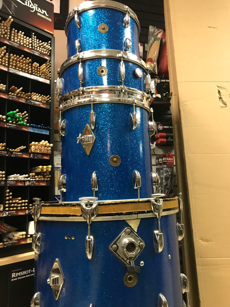 SOLD ! Rare VINTAGE Gretsch Round Badge 20 12 14+ Snare BLUE SPARKLE