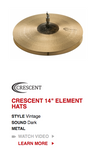 "Sabian Crescent Element 14"" Hi Hat Pair/Free Pouches/Free Skype Lesson With..."