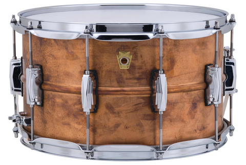 "Ludwig Copper Phonic Snare Drum - 8"" x 14"" - Raw Patina Finish"