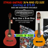 Stagg Guitars - 3/4 and 1/2 size - steel or nylon strings - Starting at $75.00 - also bags and accessories available.