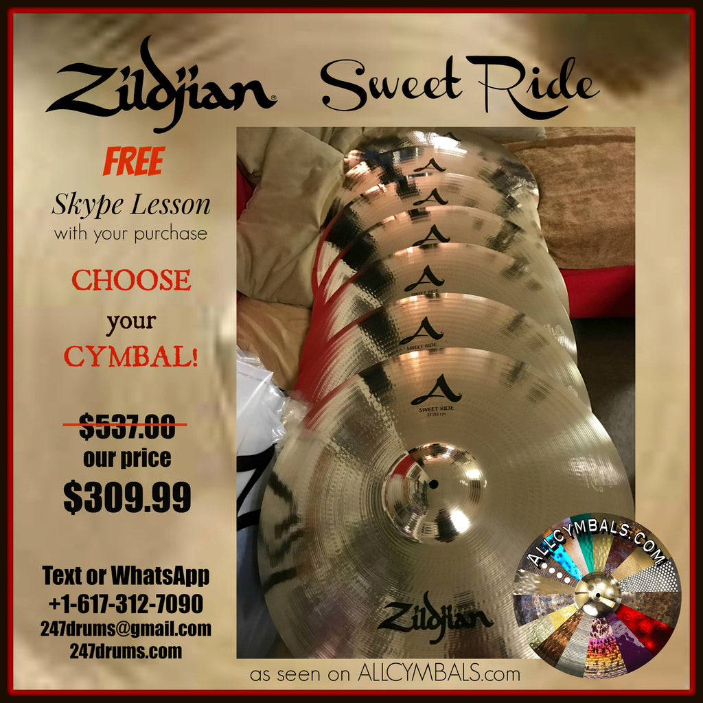 "Zildjian - A  Avedis  - Brilliant 21"" Sweet Ride Cymbal (Free Skype Lesson w/ Purchase)"