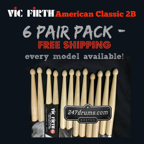 Vic Firth American Classic 2B - 6 pair - special pack (FREE SHIPPING)