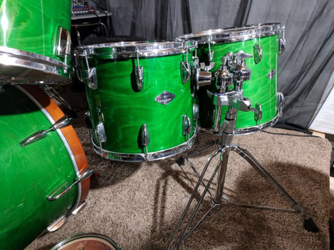 Yamaha Beech Custom Japan 5 pc Lime Green Drum set USED