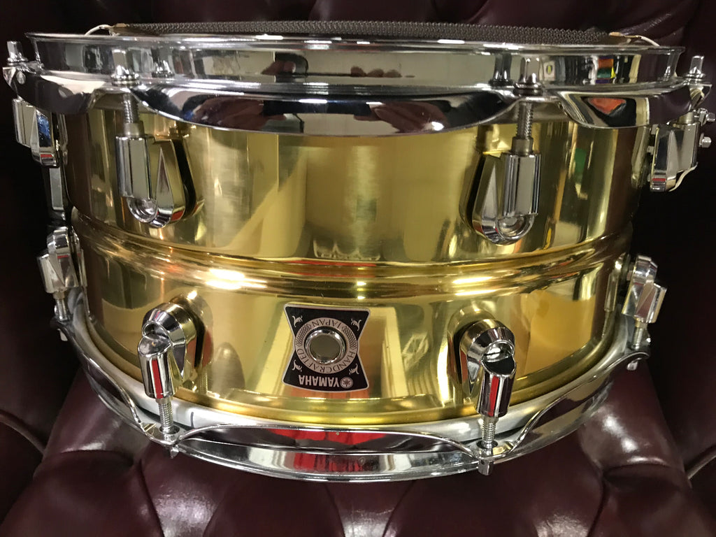 "Yamaha Brass MADE JAPAN 6.5 by 13"" snare drum"