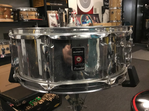 Used Premier Olympic Steel Snare Drum 14x5.5 Made in England