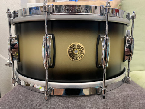 "Gretsch Broadkaster Satin Black Gold Duco 6.5 x 14"" snare drum"