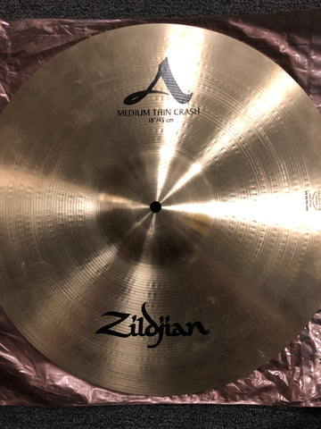 "Zildjian A Medium thin Crash Cymbal - 18"" - 1362 grams - Demo"
