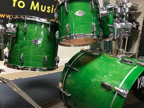 Yamaha beech custom 4 pc drum set line green