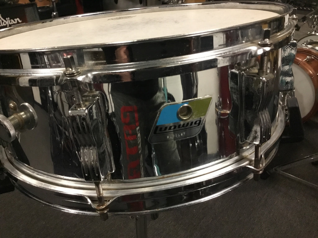 Vintage Ludwig Blue & Olive Badge Snare Drum 14x5.5