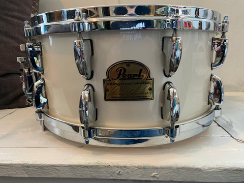 "Pearl Dennis Chambers Snare Drum White 6.5 x 14"" used excellent AUTOGRAPHED"