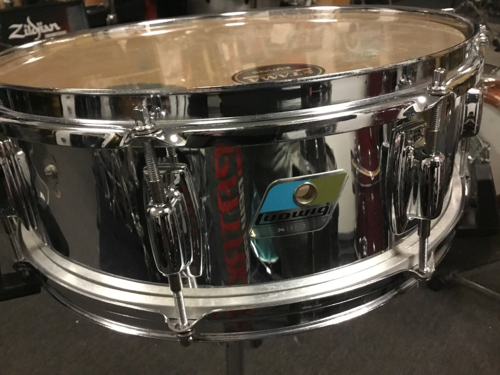 Vintage Mint Ludwig Blue & Olive Badge Snare Drum 14x5.5 Chrome over Maple
