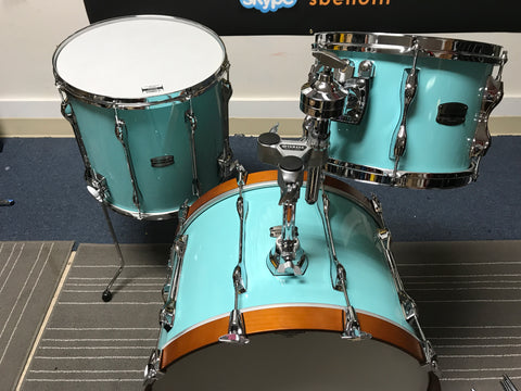 SOLD: Yamaha Recording Custom Used Mint 8x12,14x15 FT, 14x22 Bass Drum SURF GREEN