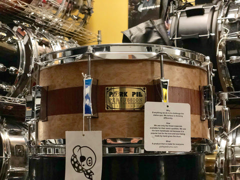 Pork Pie 14x6.5 8 Ply Maple - 10 lug - Brandied Peach w/ Mahogany Stripe - With VIDEO