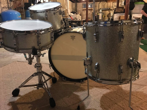 1966 Silver Sparkle Ludwig Down Beat Drum Set with matching Jazz Fest Silver Sparkle Snare Drum