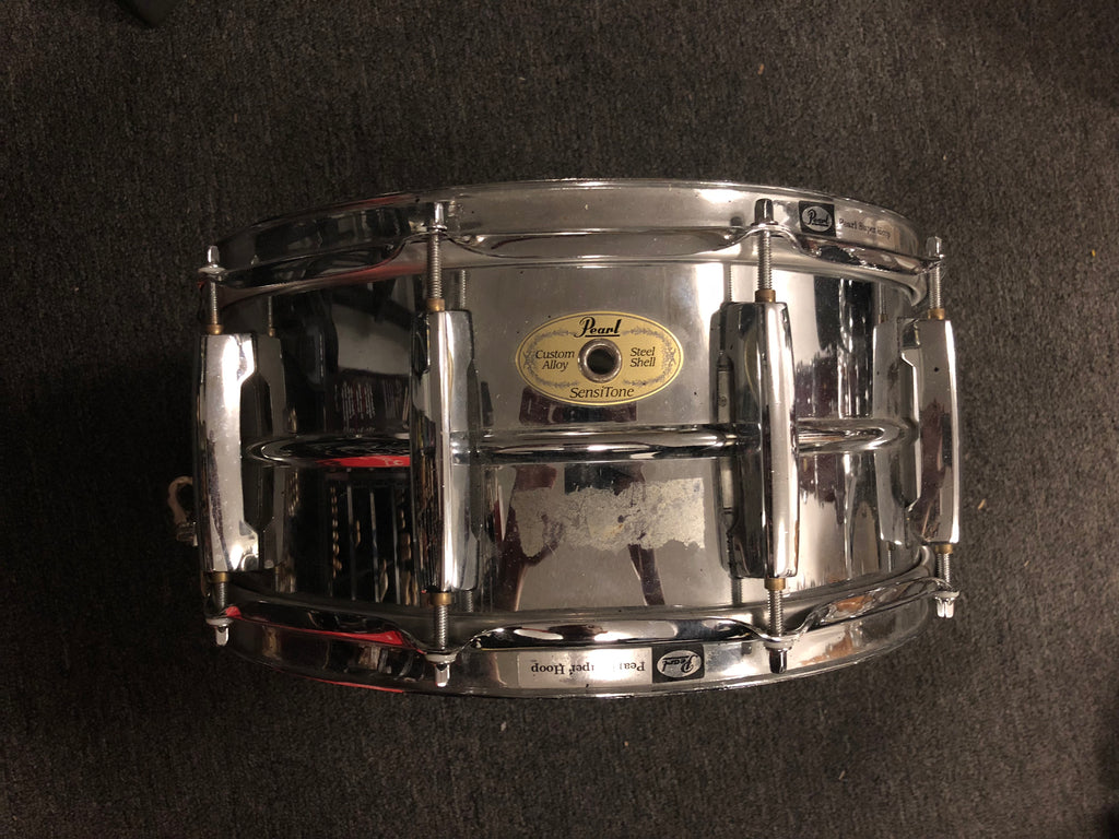 Pearl Sensitone Custom Alloy Snare Drum - 6.5 x 14 - USED - Steel Shell