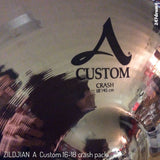 "Zildjian A Custom Crash Pack (16"" & 18"") with 2 Free Yamaha Cymbal Stands"