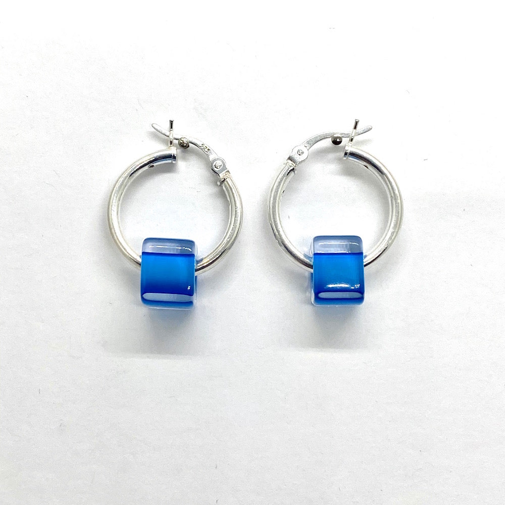 Cane Glass Bead Hinged Hoop Earrings - AQUA