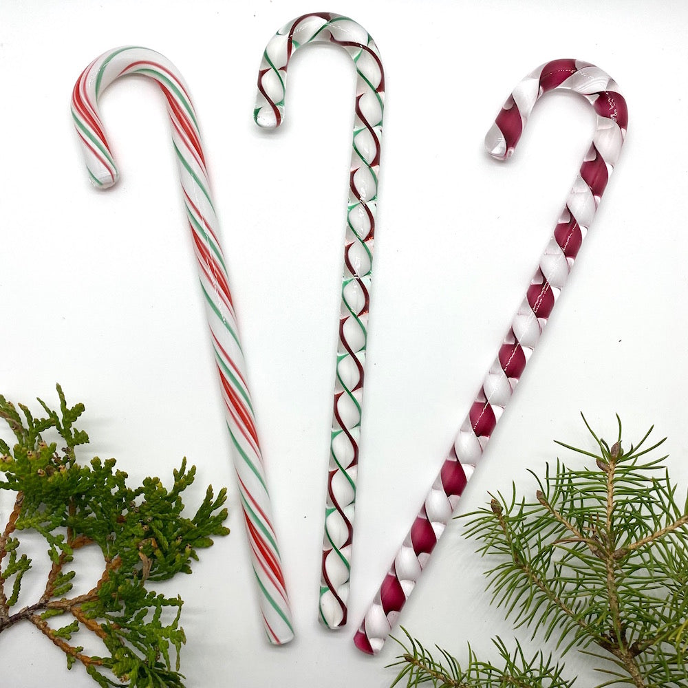 Filigree/Ribbon Large Glass Candy Canes - CHRISTMAS MIX