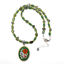 Load image into Gallery viewer, Mosaic Glass Pendant Necklaces with Cane Beads - GREEN