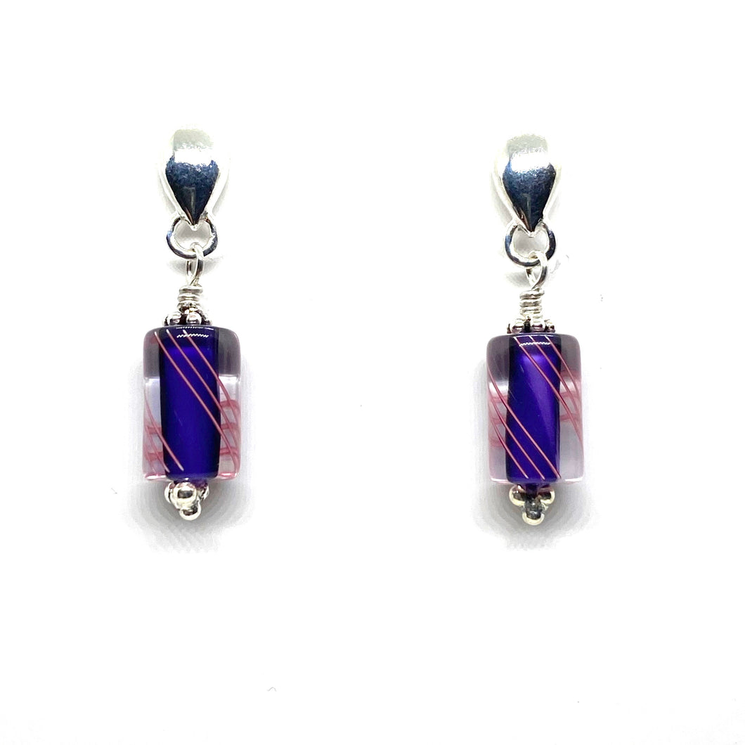 Furnace Glass Cane Stud Earrings - Purple