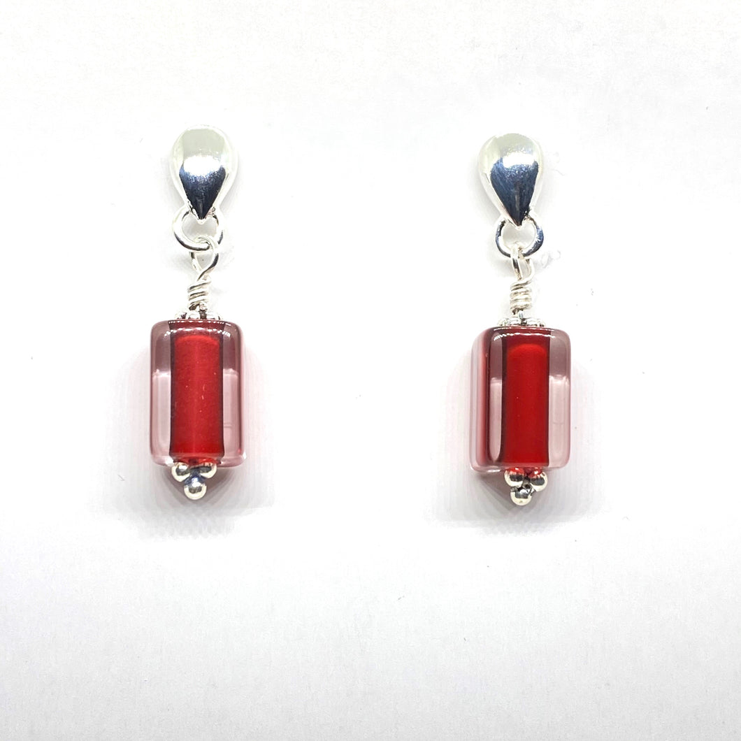 Furnace Glass Cane Stud Earrings - Red
