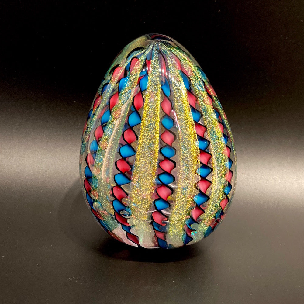 Filigree Ribbon Stardust Eggs , Glass Sculptures - AQUA/RUBY/LARGE
