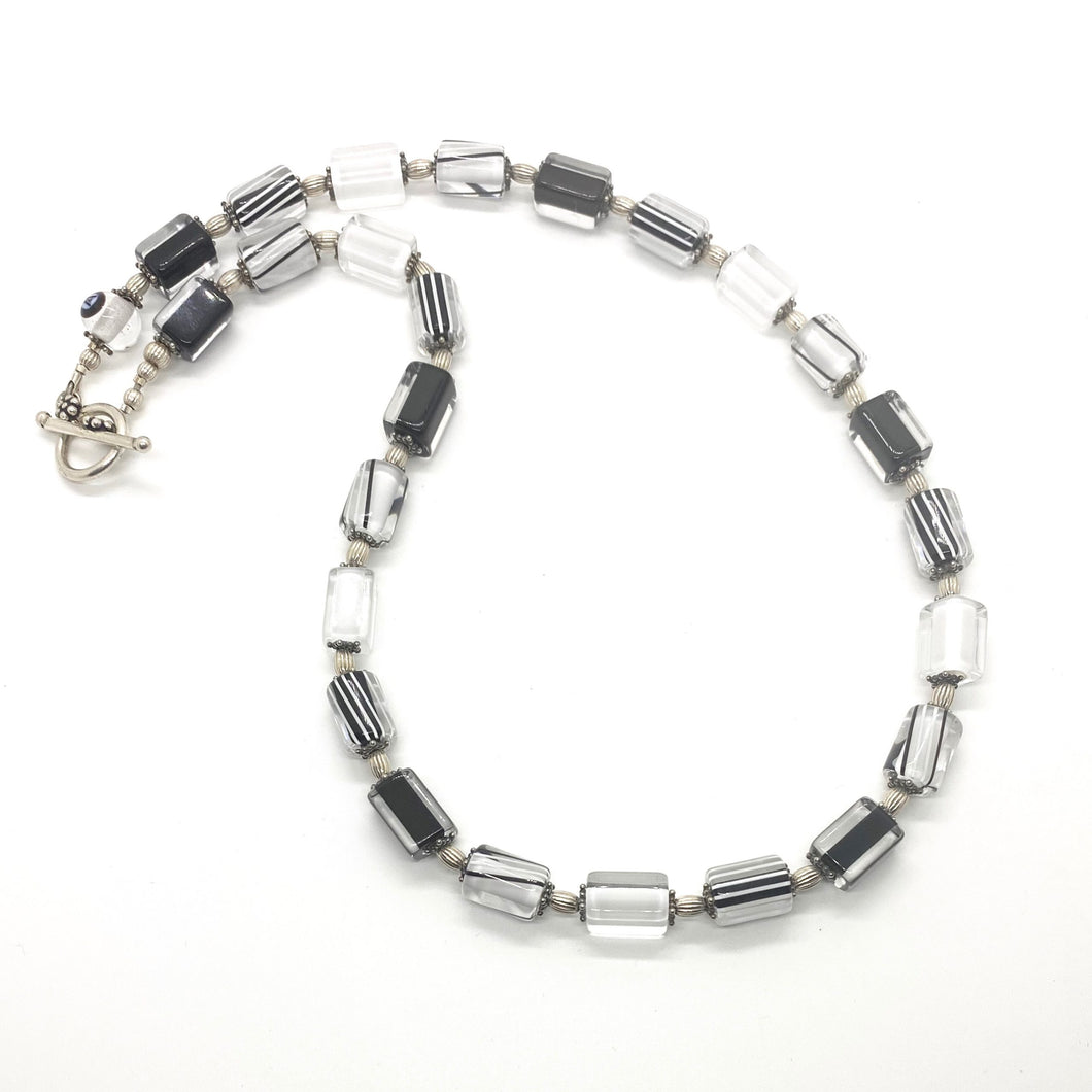 Blown Glass Cane Bead Necklaces - BLACK/WHITE