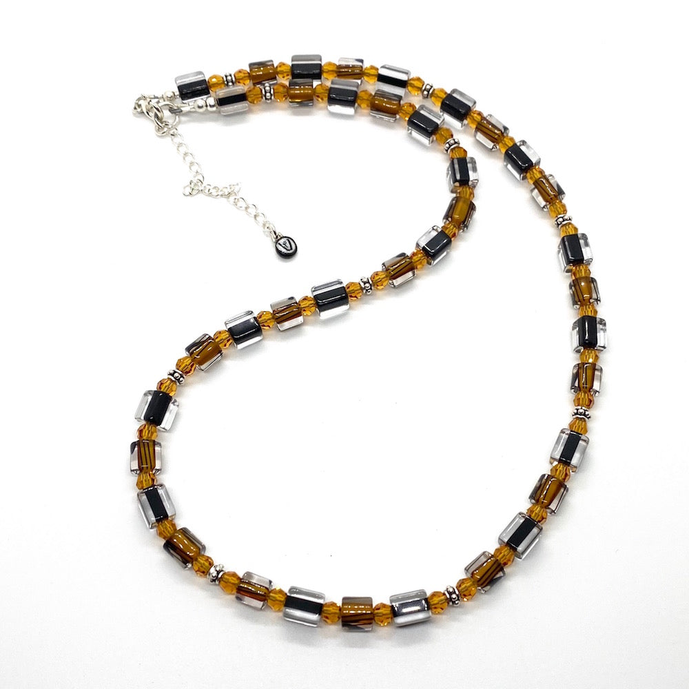 Cane Beads & Swarovski Crystals Necklaces - BLACK & AMBER