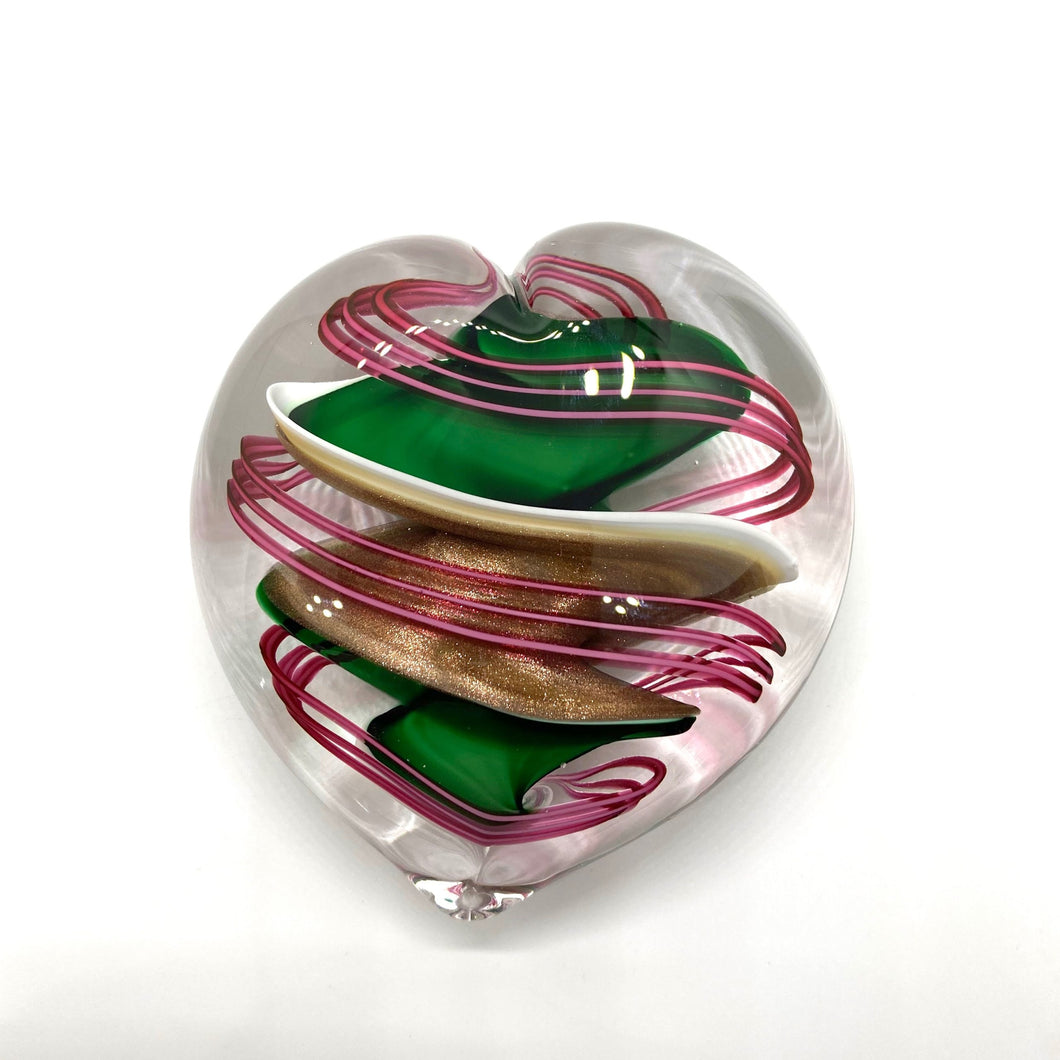 Ribbon Glass Heart Paperweights - GREEN