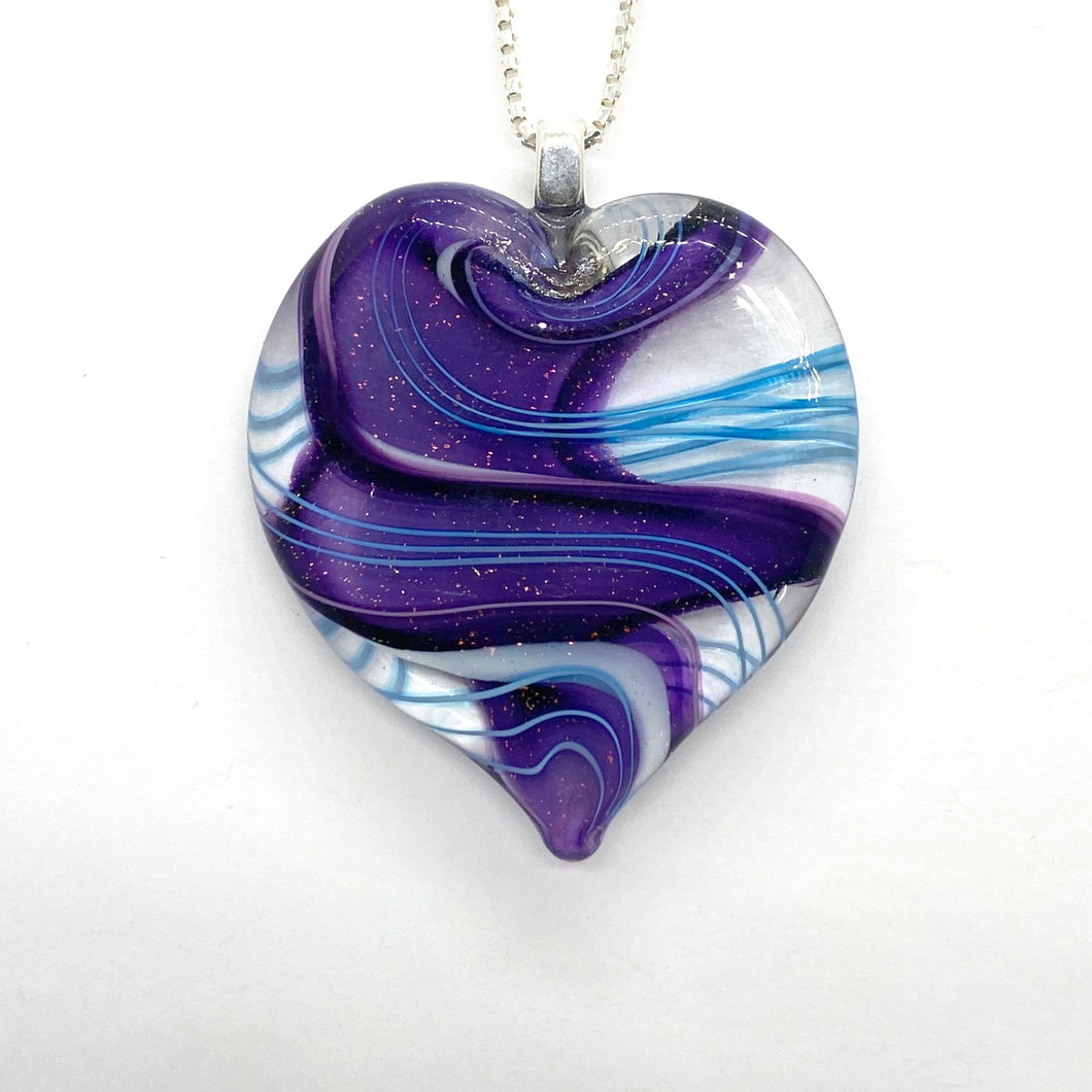 Stardust Ribbon Glass Heart Pendants - PURPLE