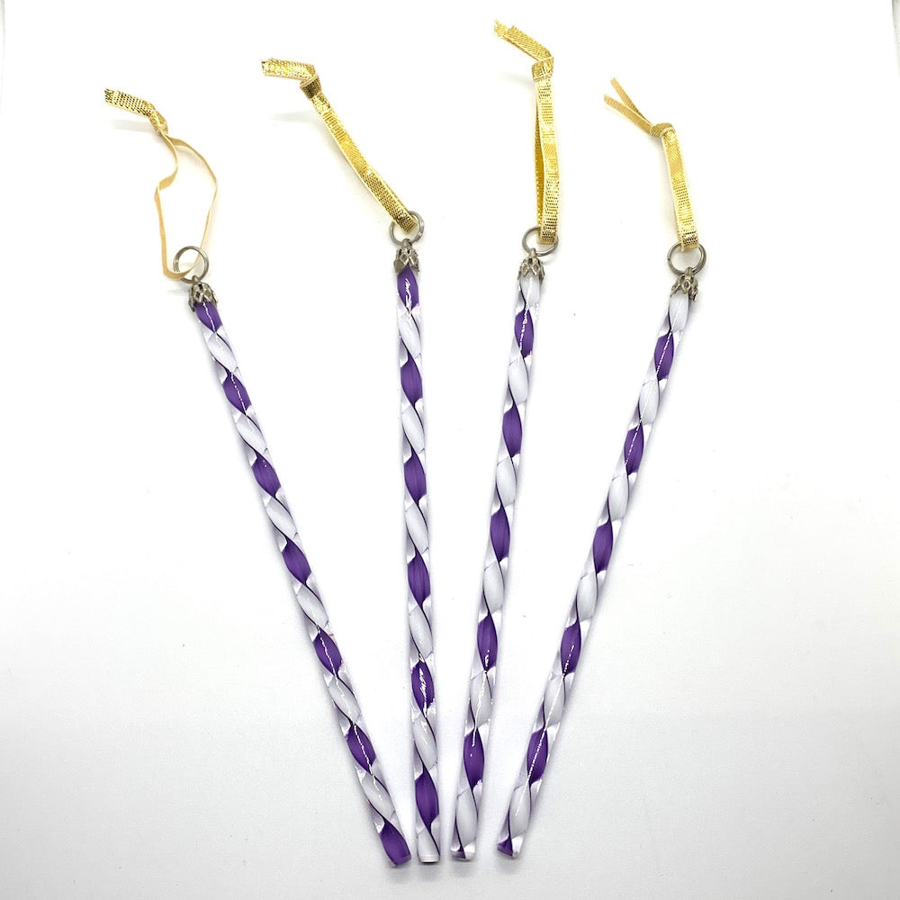 Art Glass Icicles Filigree/Ribbon - PURPLE/WHITE