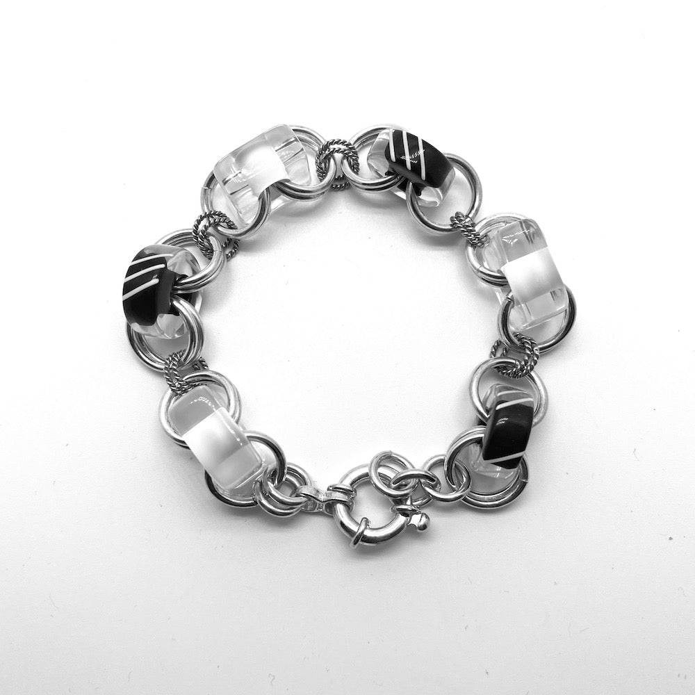 LINKED CANE BEAD BRACELETS WITH .925 STERLING SILVER RINGS - BLACK AND WHITE