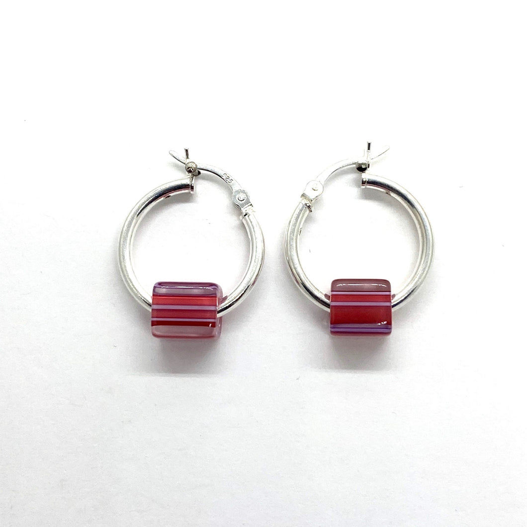 Cane Glass Bead Hinged Hoop Earrings - PINK/MAUVE