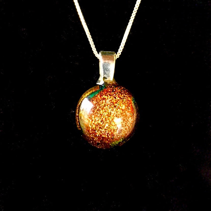 Stardust Pendant Necklaces with Sterling Silver Chain - Rust