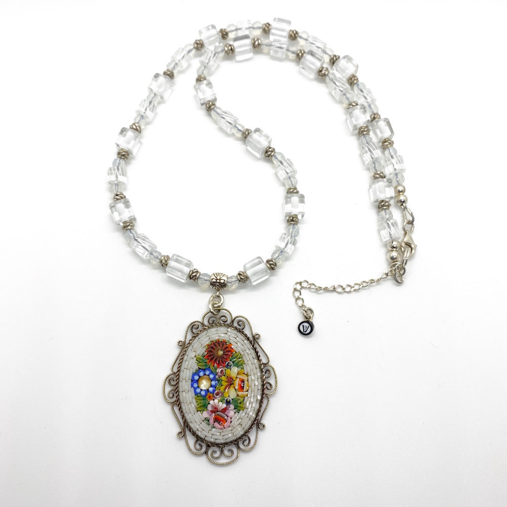 Mosaic Glass Pendant Necklaces with Cane Beads - WHITE
